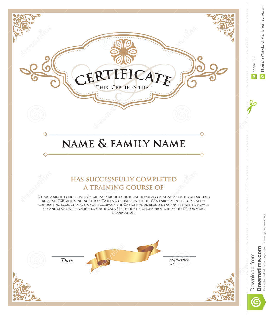 Certificate design template stock vector image 55469922 for Certificate design template