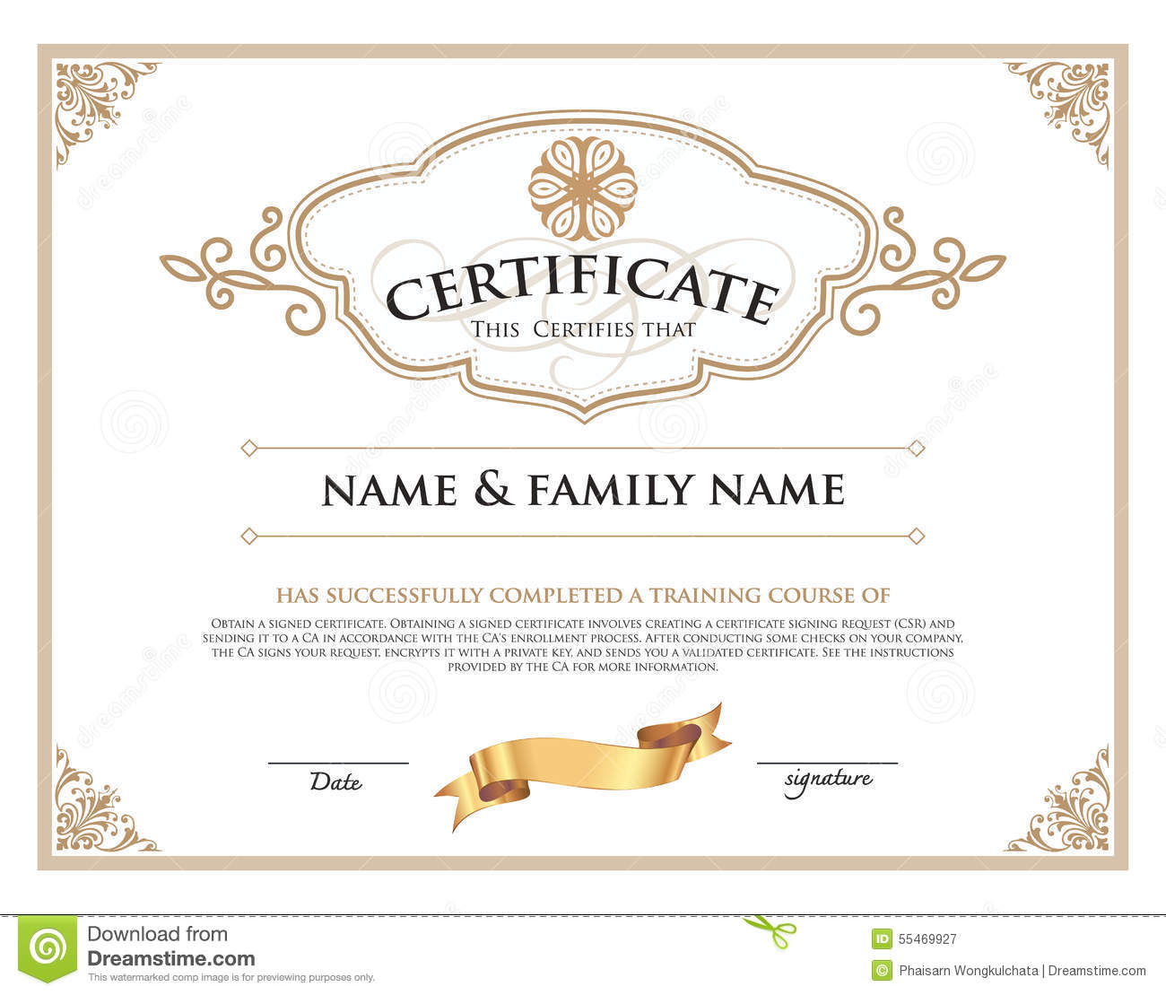 Certificate Design Template. Stock Vector - Illustration of ...