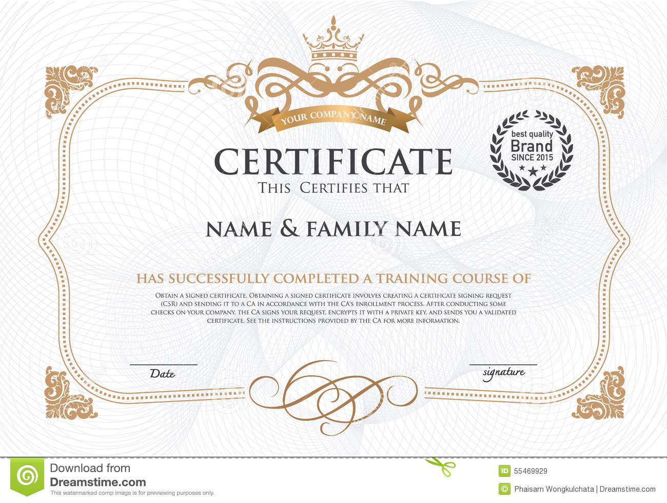 Certificate design template stock vector image 55469929 certificate design template royalty free vector download certificate yadclub Image collections