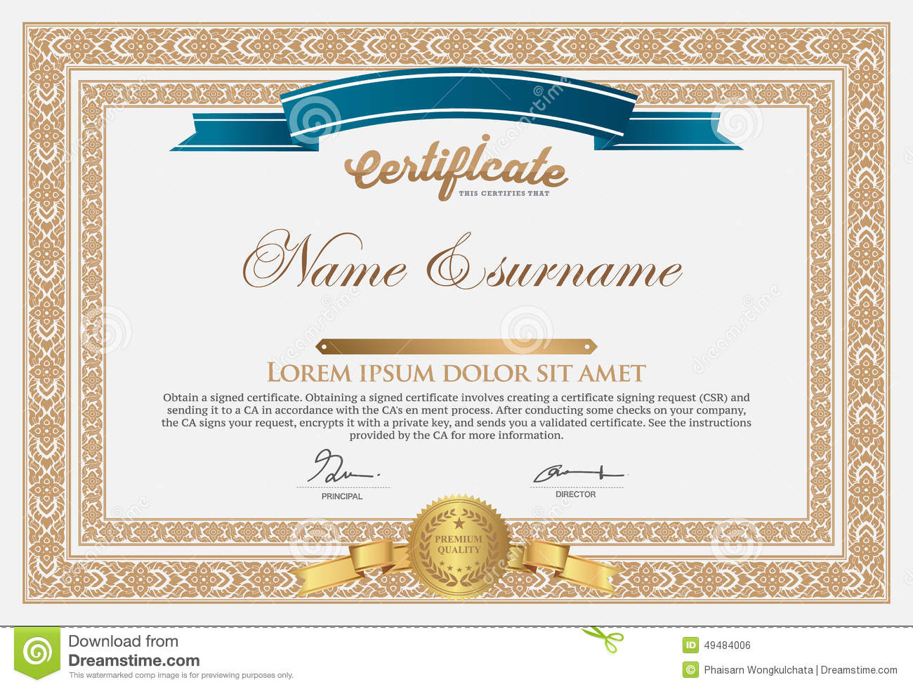 Certificate Design Template Stock Vector Illustration Of Design Certificates 49484006