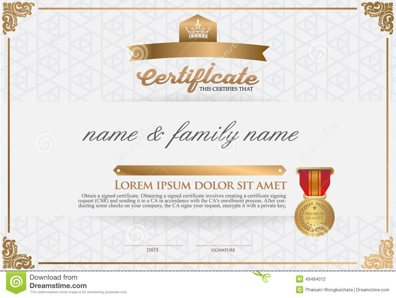 Certificate Design Template Stock Vector Image 49484012