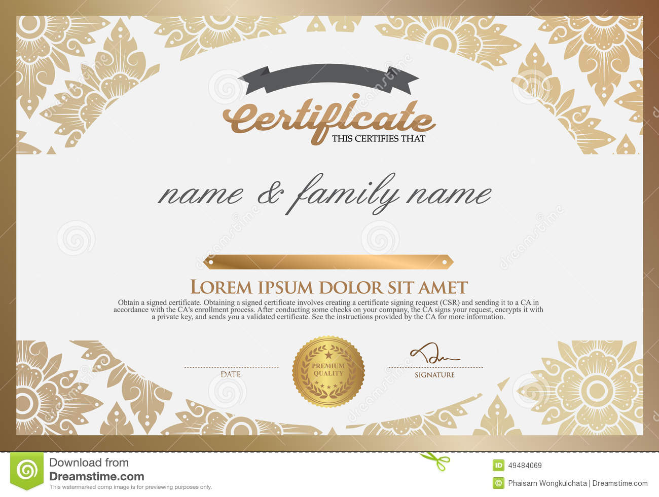 Certificate Design Template Stock Vector Illustration Of Gold