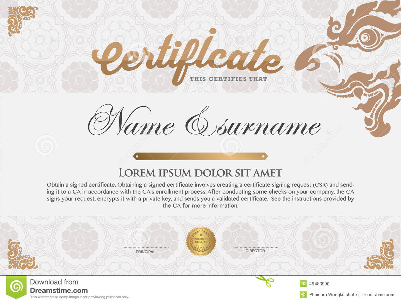Certificate Design Template Stock Vector Image 49483990