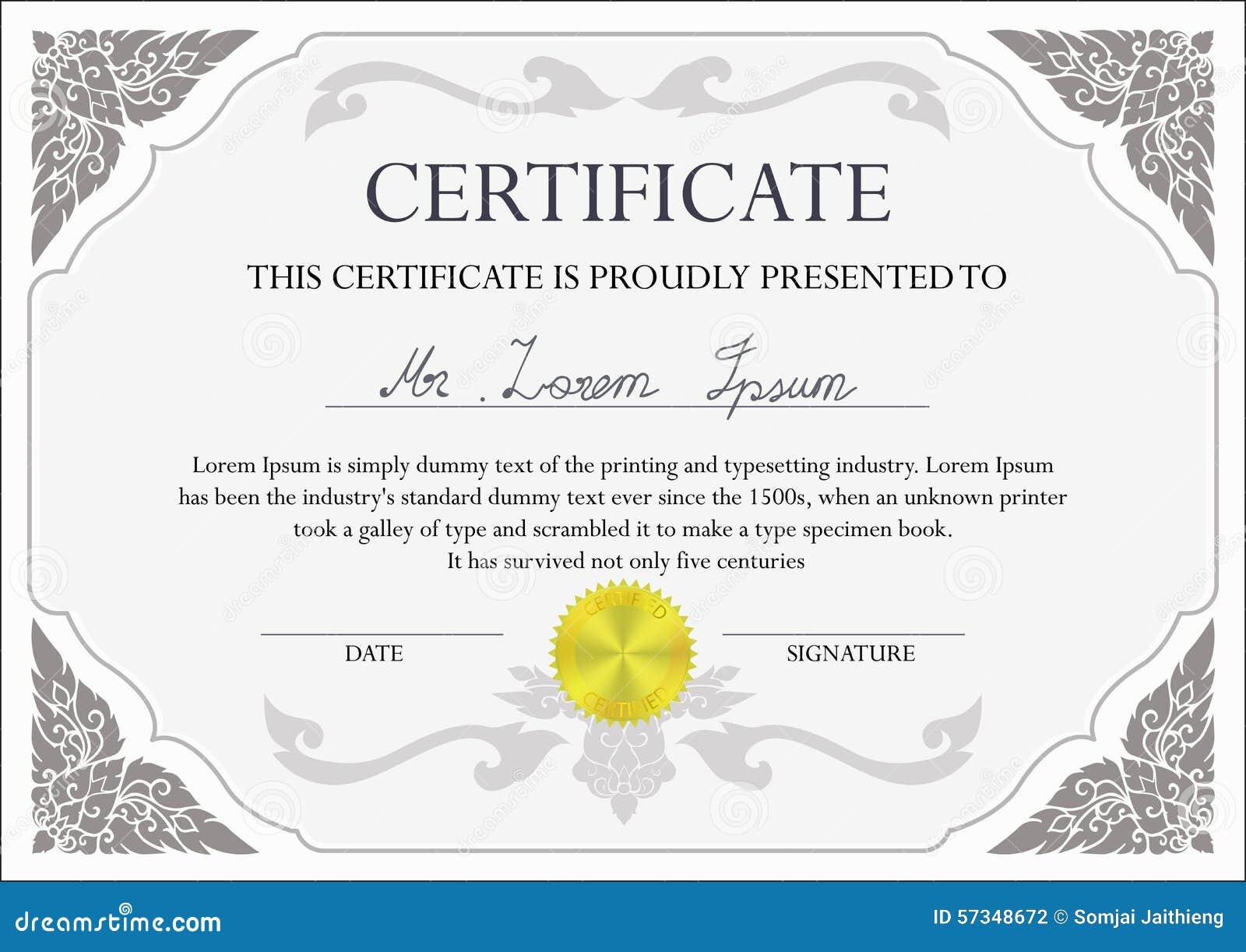 Certificate Design Template Stock Vector - Image: 57348672