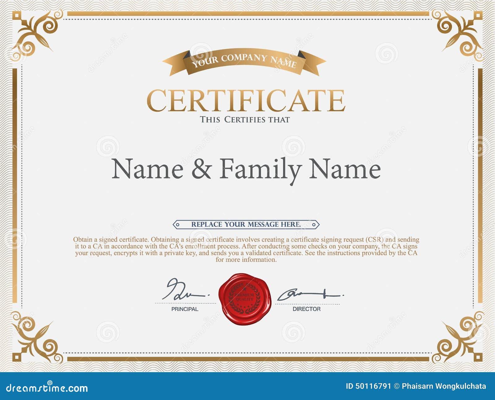 Certificate Design Template Stock Vector Image 50116791
