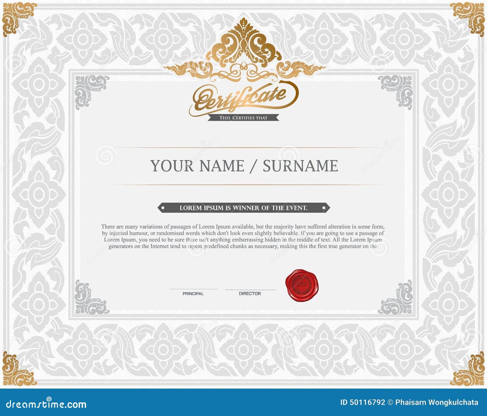 certificate design template  stock vector