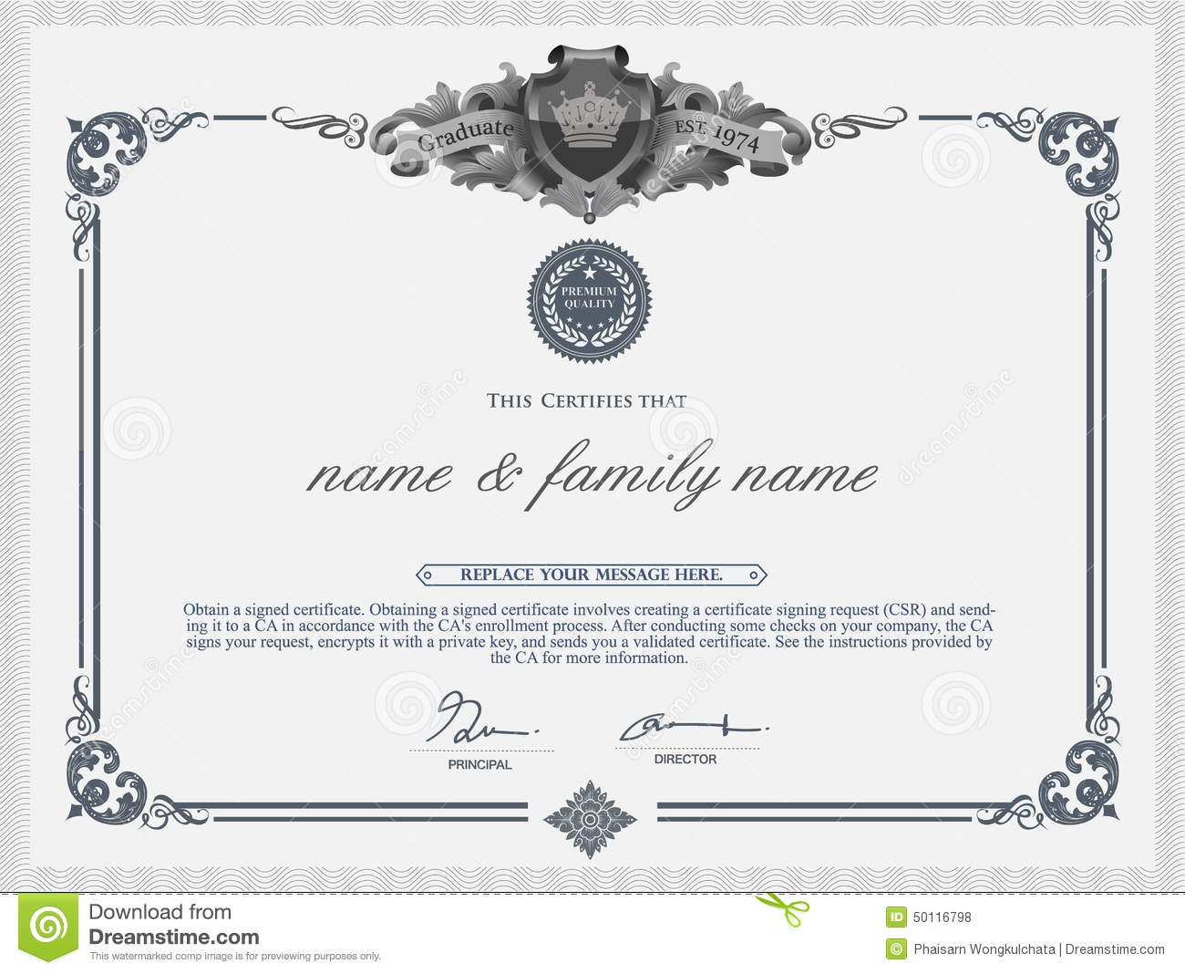 Certificate Design Template. Stock Vector - Image: 50116798