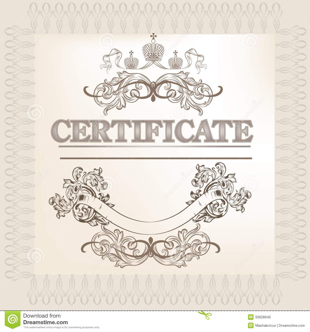 Certificate Design In Vintage Style Stock Vector