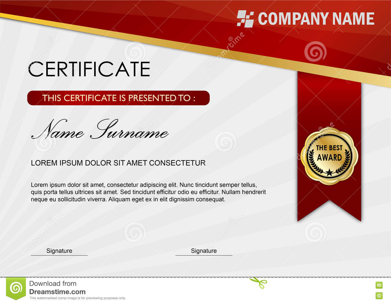 Certificate / Diploma Award Template, Red Dark Stock Illustration ...