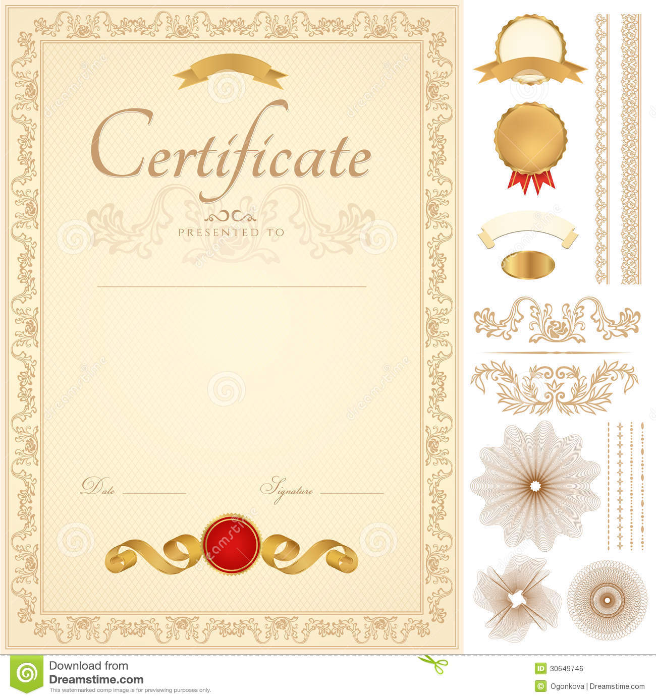 Certificate Diploma Background Golden Border Stock Vector