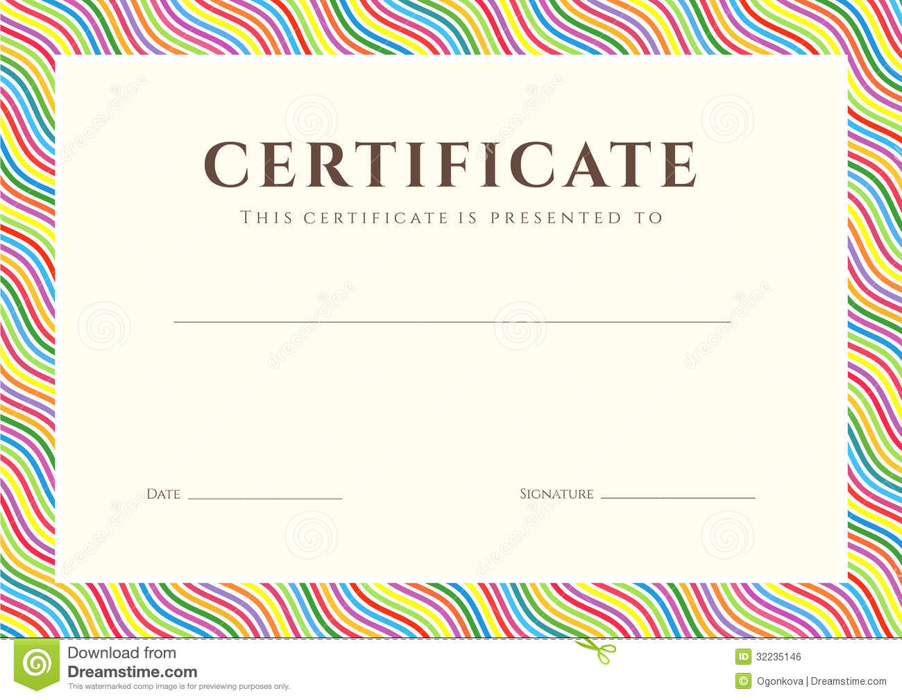 certificate of completion template or sample background with colorful ...