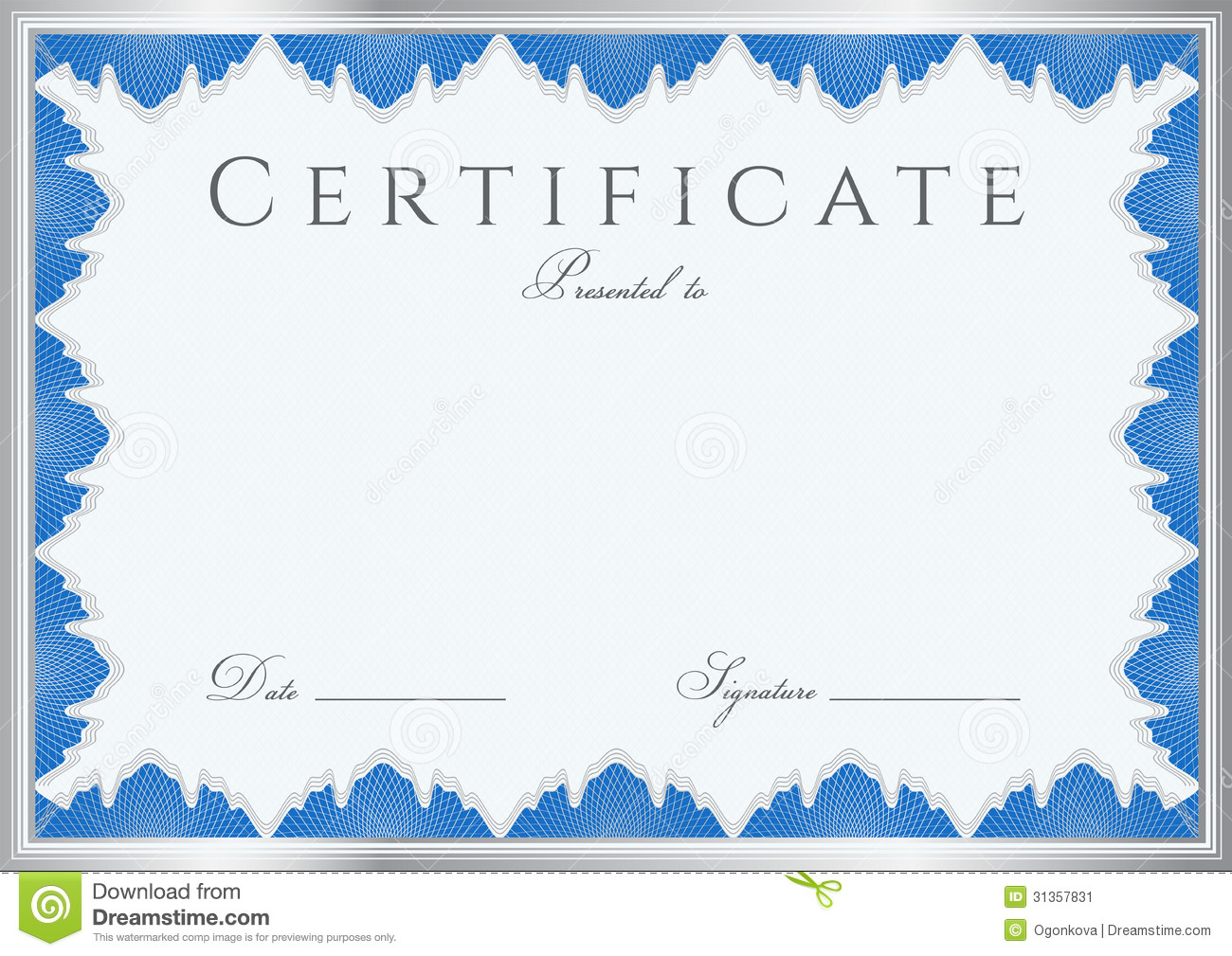 Blue Certificate Borders Blue certificate of completion