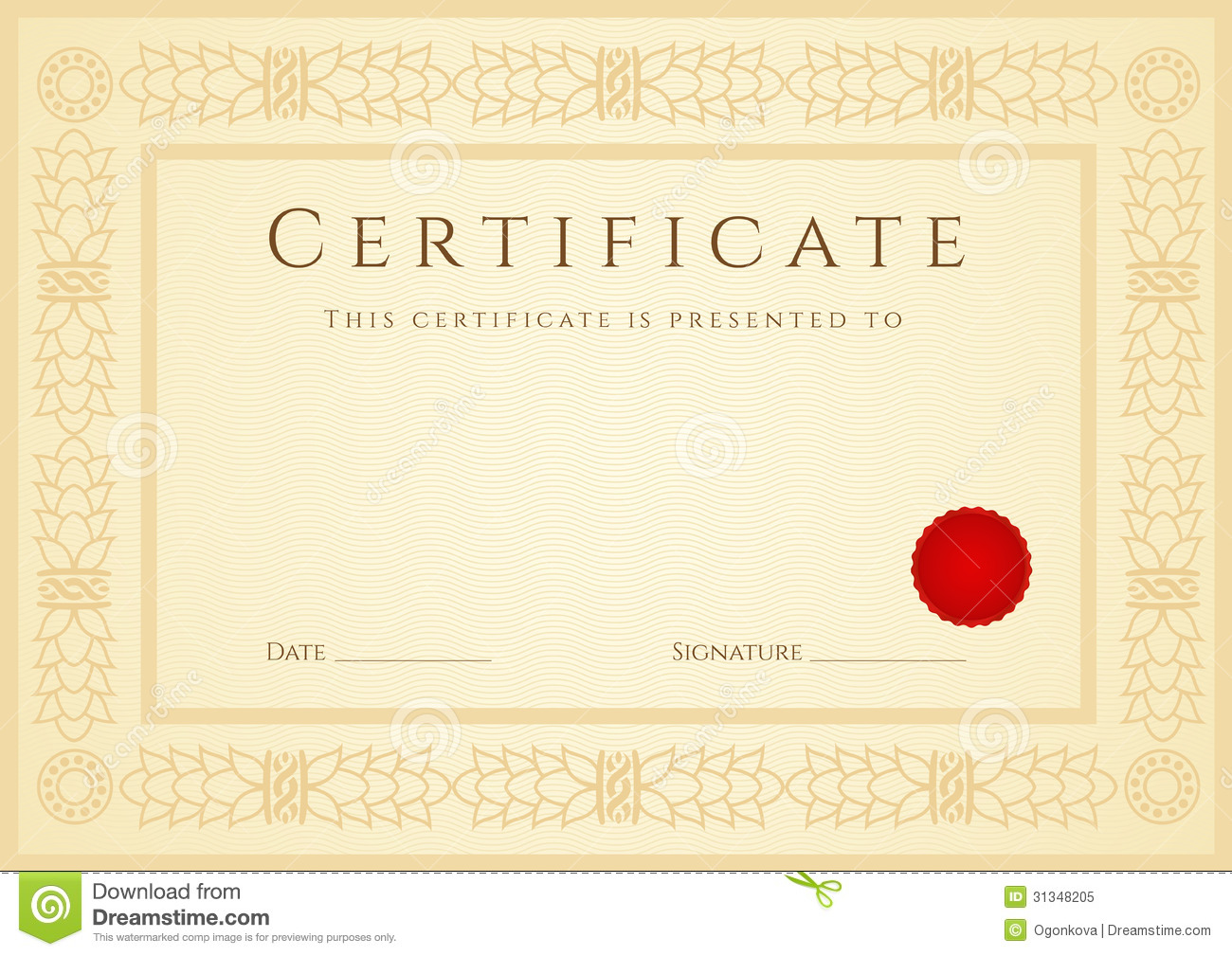 Certificate Diploma Background Template Frame Stock