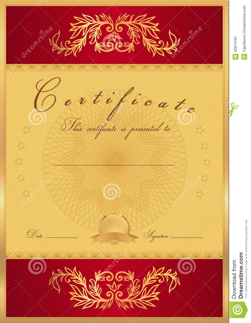 certificate diploma background template stock vector