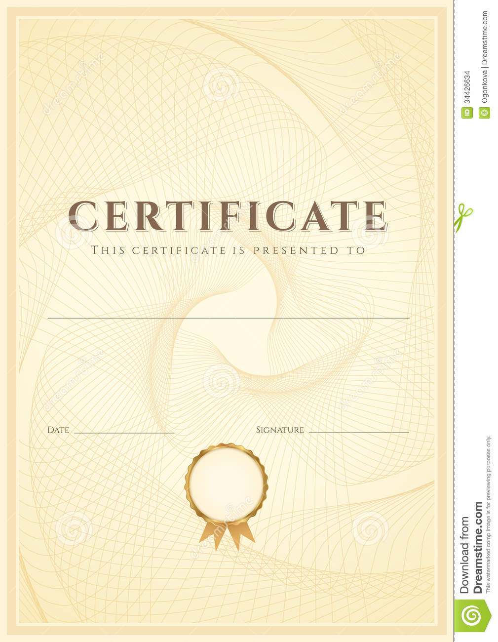 Gold Scroll Border Certificate