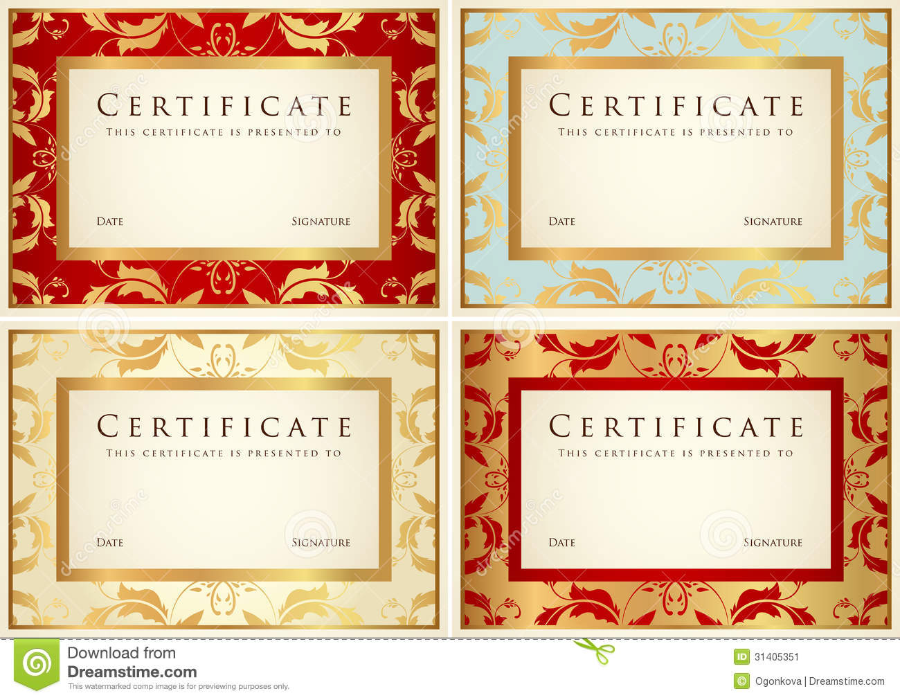 Certificate / Diploma Background Template. Pattern Stock Image - Image ...