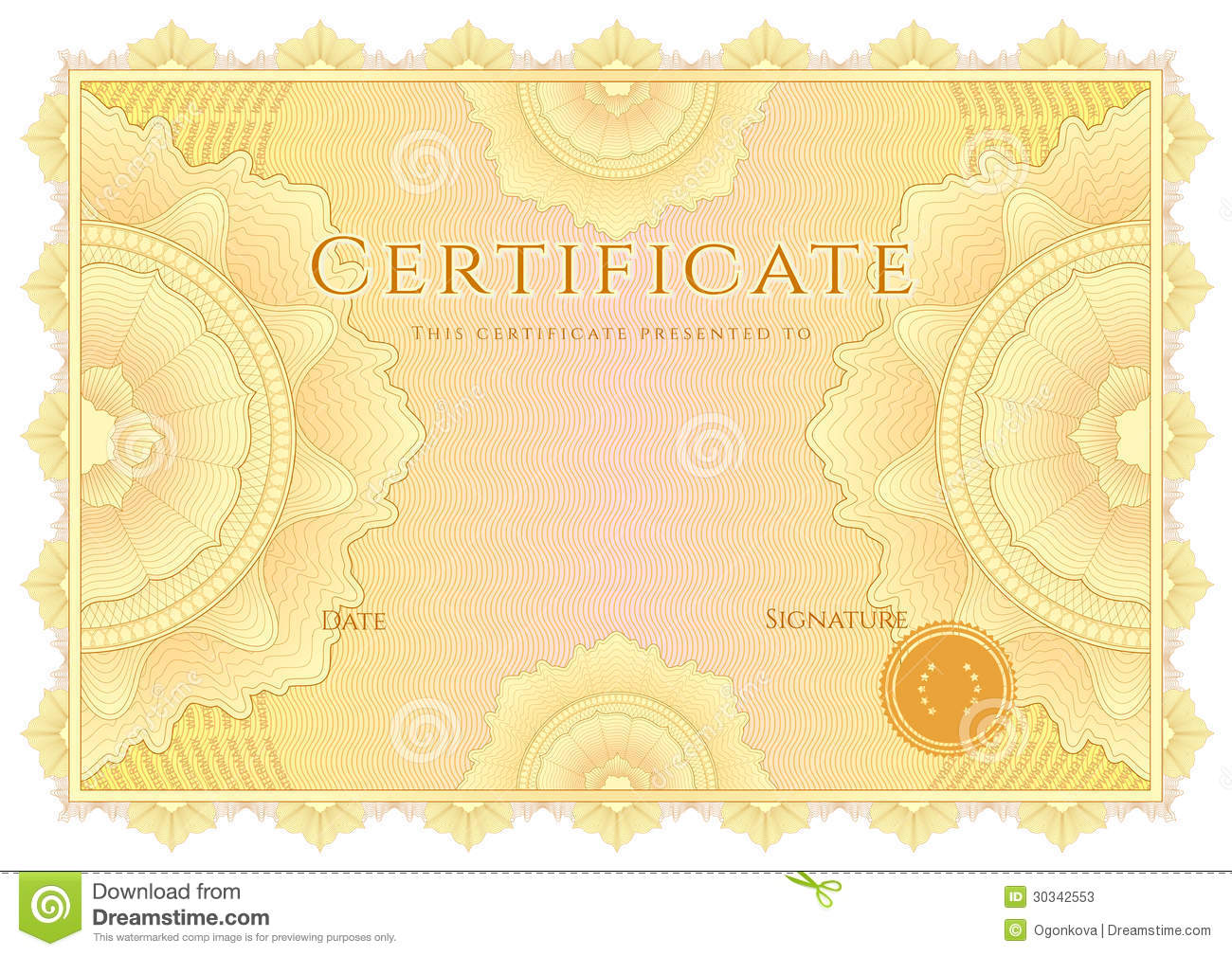 certificate    diploma background  yellow border stock