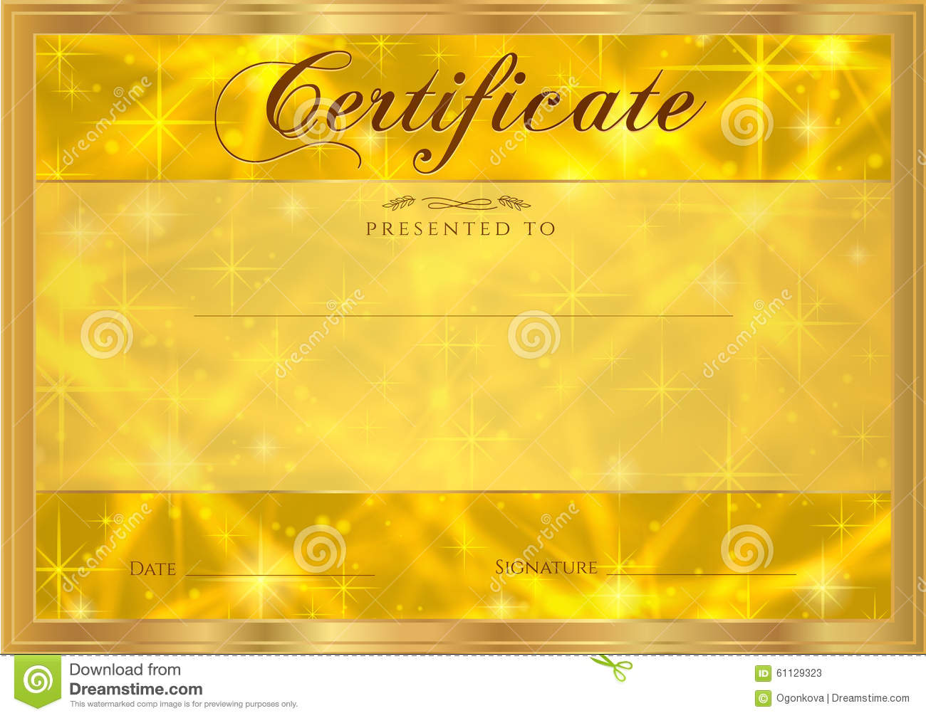 Certificate, Diploma Of Completion With Abstract Gold ...