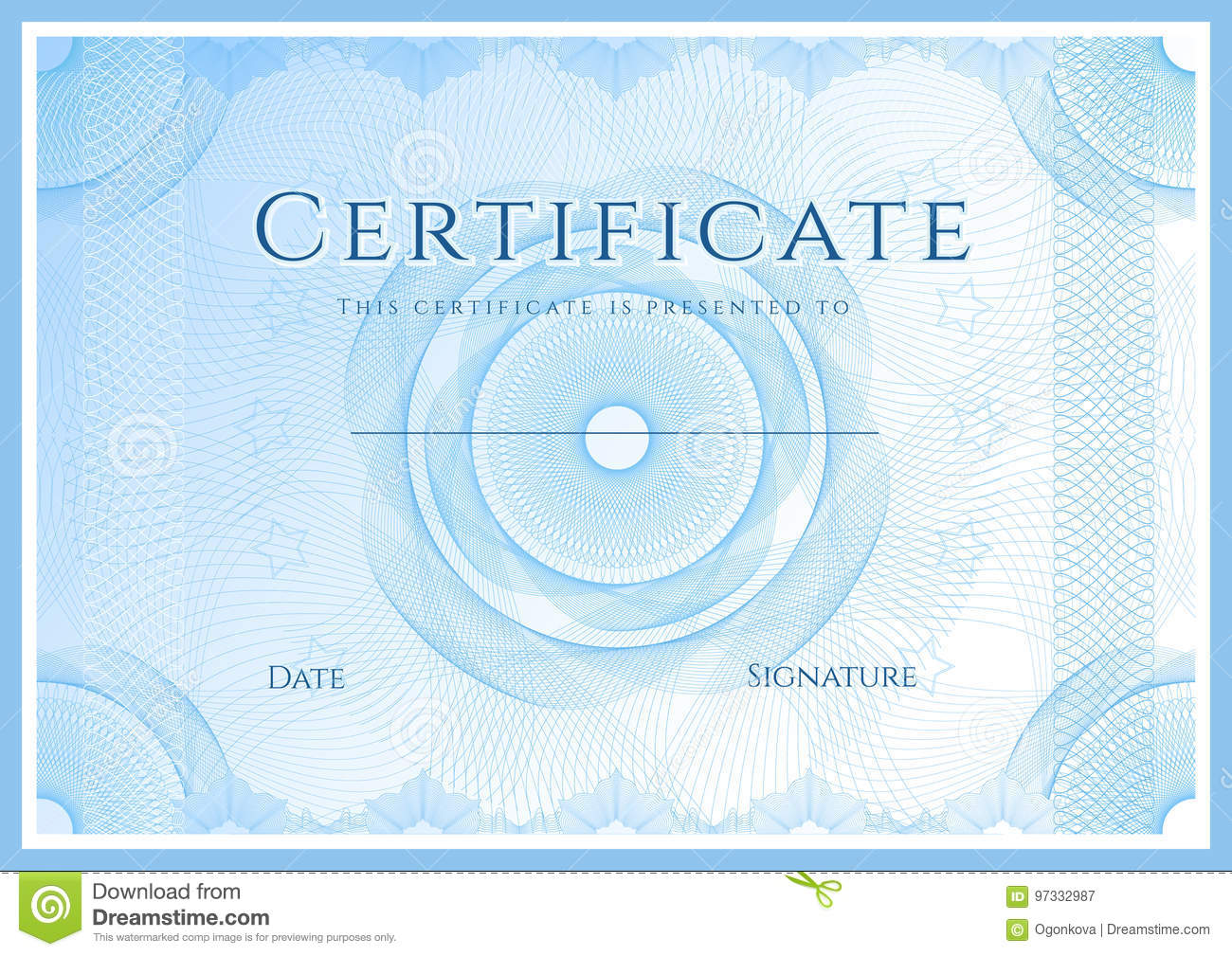 Certificate, Diploma Of Completion Design Template Stock Vector