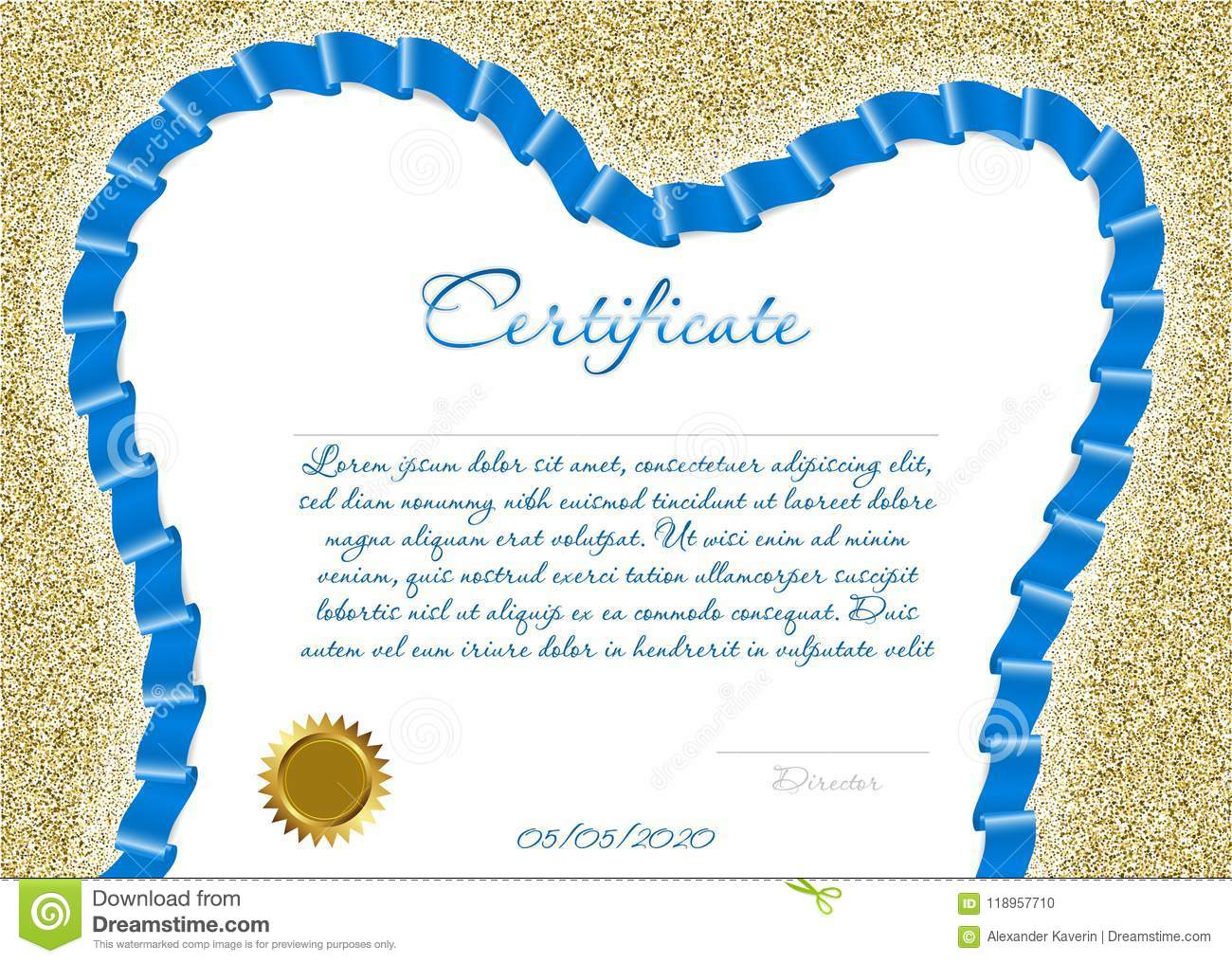 Certificate Or Diploma For A Dental Clinic With A Blue Colored