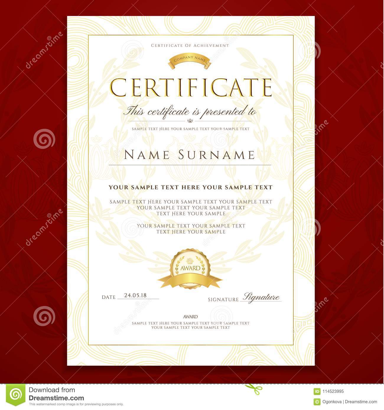 certificate diploma golden design template colorful background