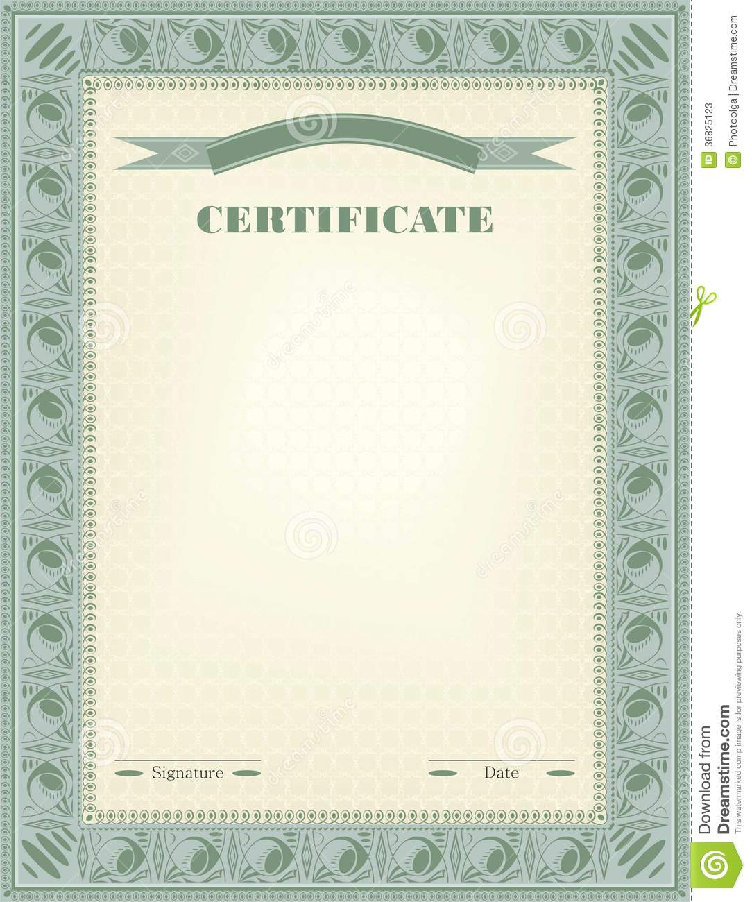 Certificate Diploma Official Document Vector Stock