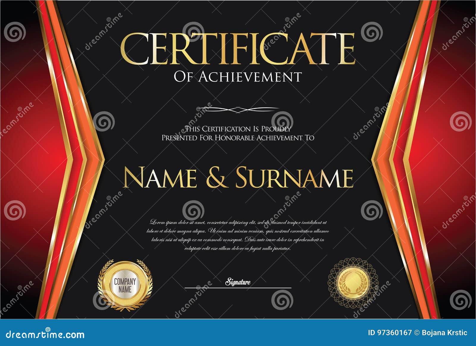 certificate or diploma retro design stock illustration