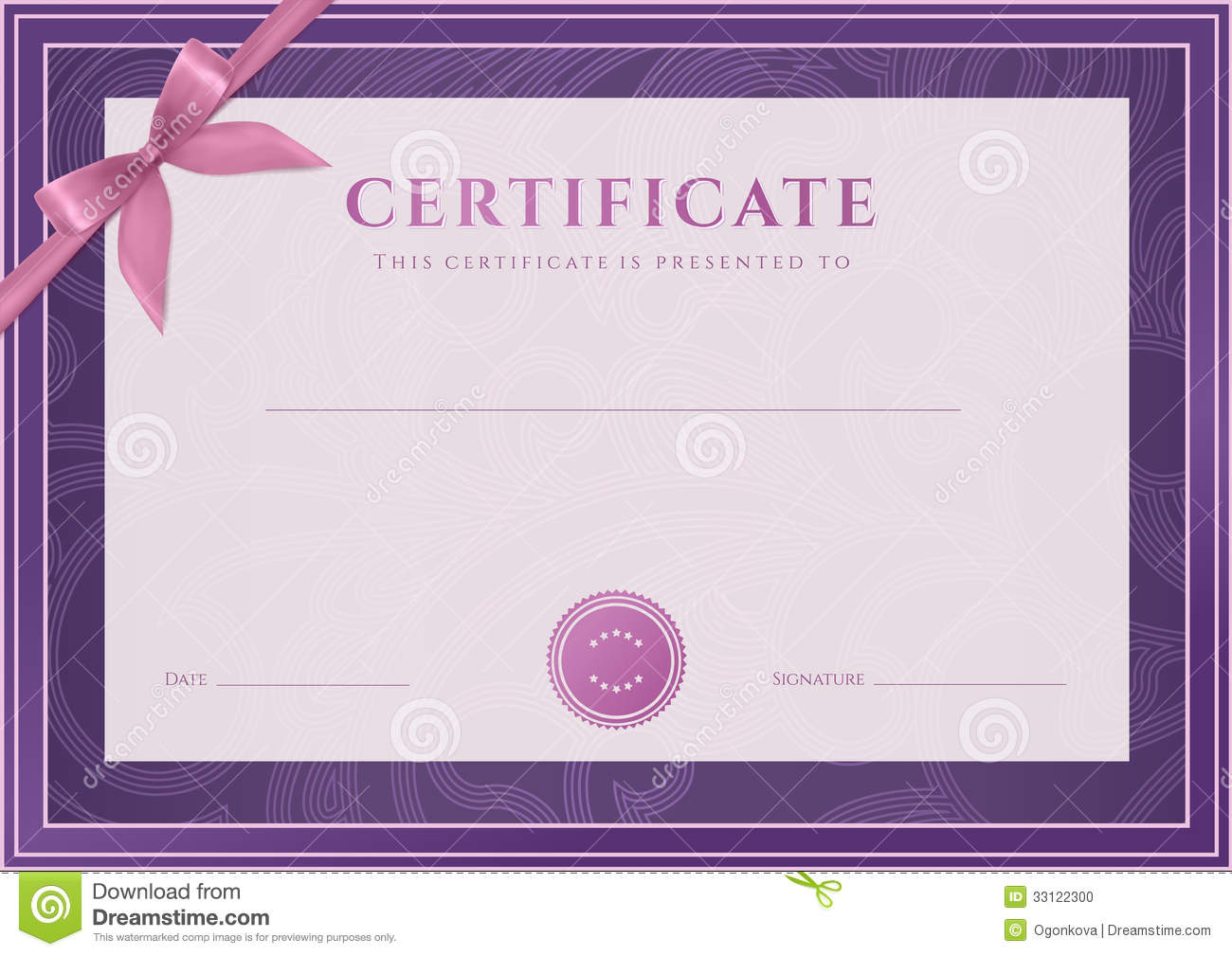 Certificate, Diploma Template. Award Pattern Stock Photo - Image ...