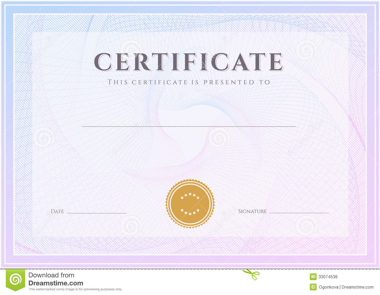 certificate diploma template award pattern stock vector