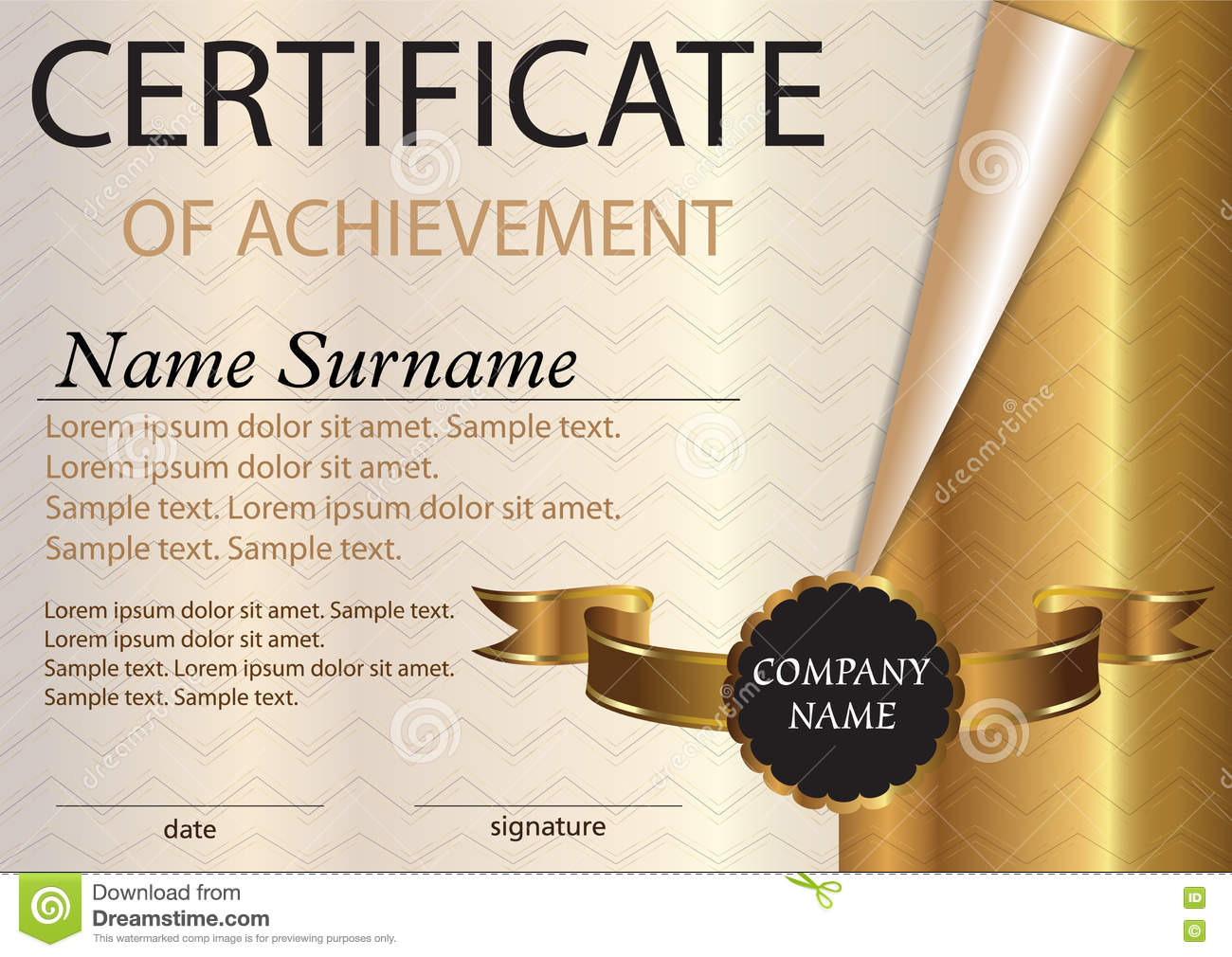 Certificate Or Diploma Template. Award Winner. Winning The Compe Stock  Photos  Certificate Winner