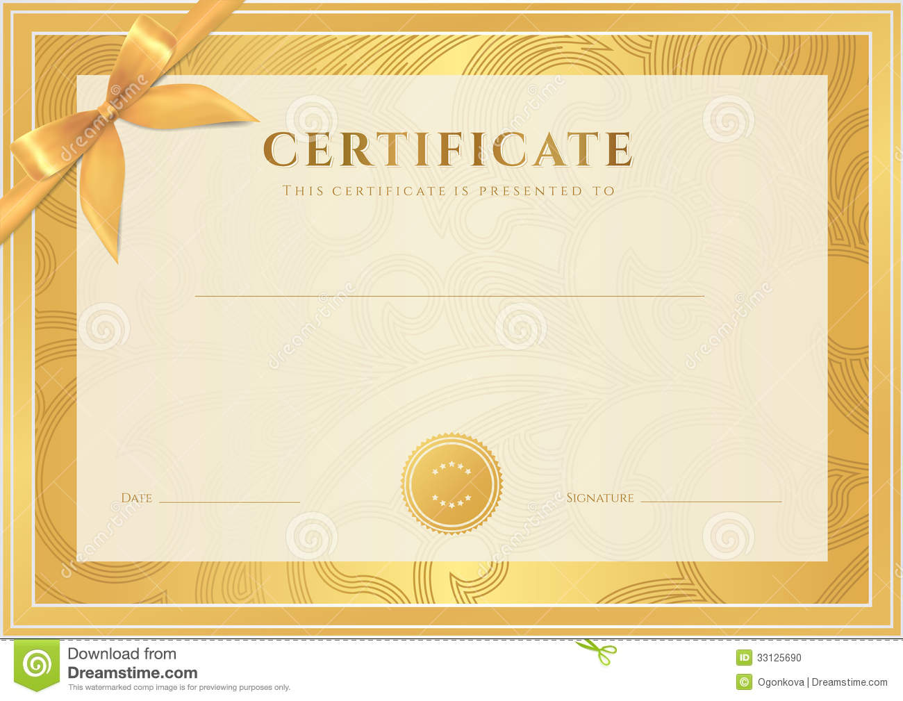 Certificate, Diploma Template. Gold Award Pattern  Certificate Of Completion Template Free Download
