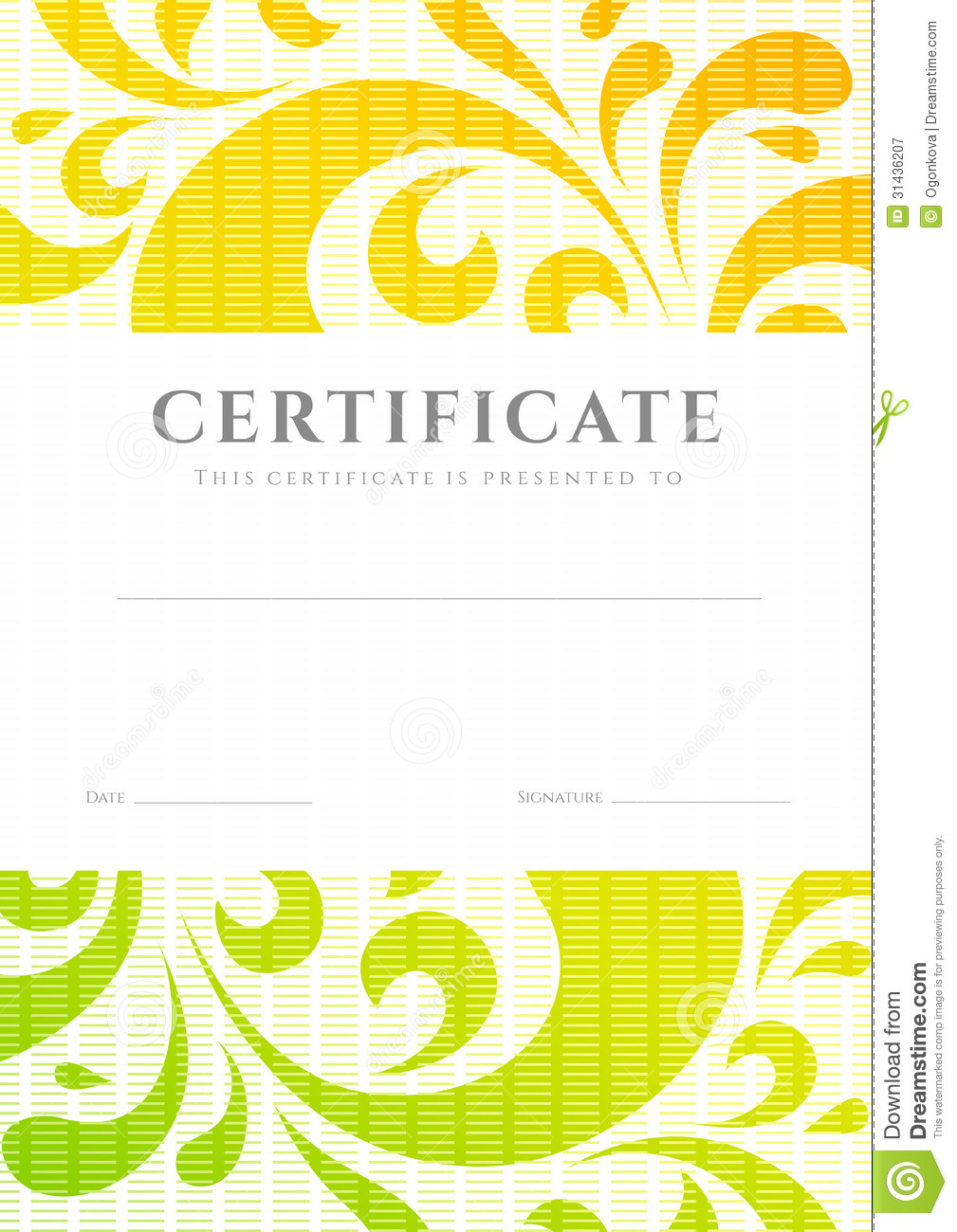Certificate / Diploma Template. Scroll Pattern Stock Vector - Image: 31436207