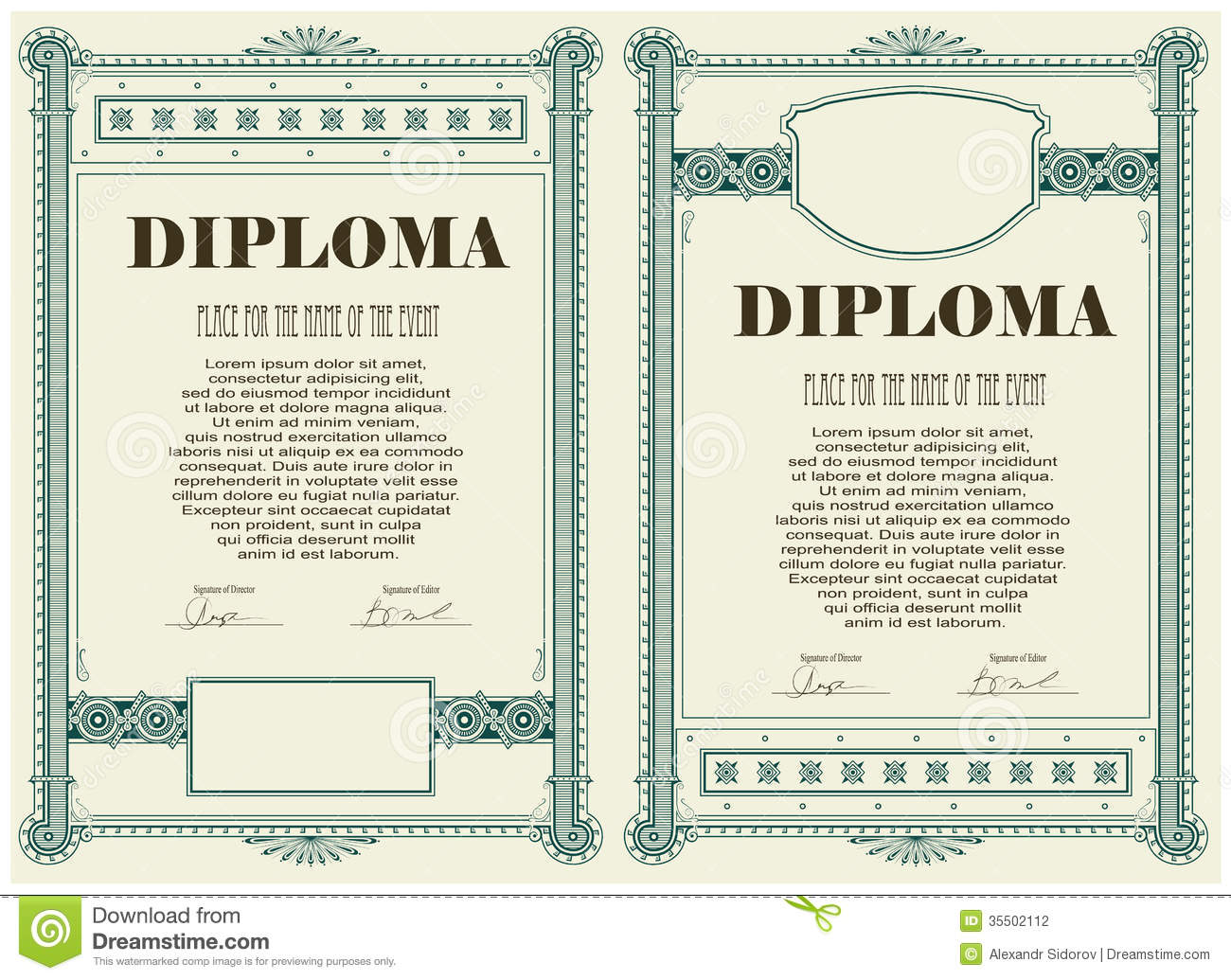 certificate or diploma template stock vector