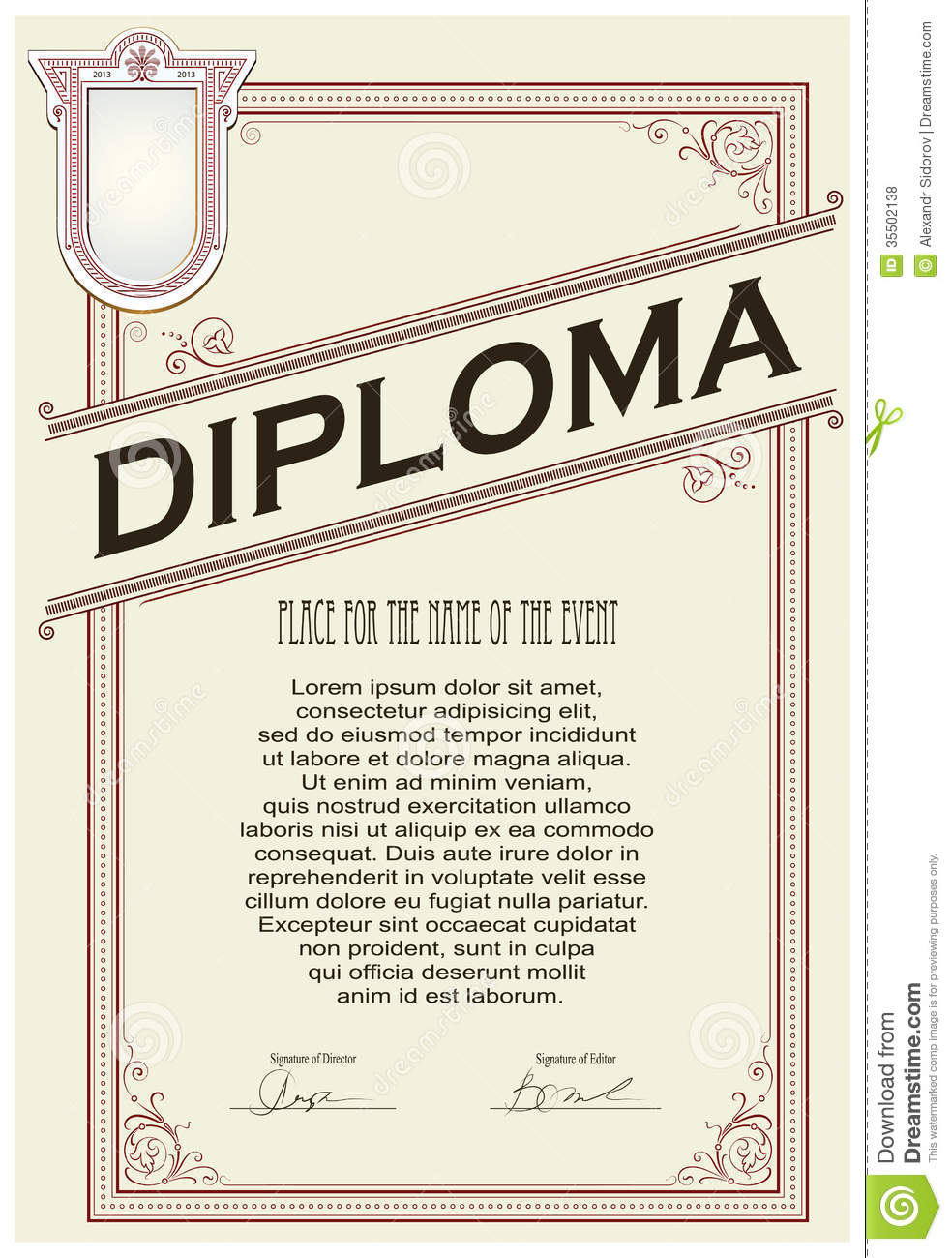 Certificate or diploma template stock vector image 35502138 certificate or diploma template yadclub Image collections