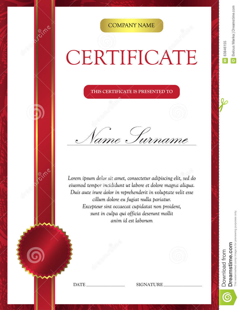 Certificate And Diploma Template Stock Illustration - Image: 63846155