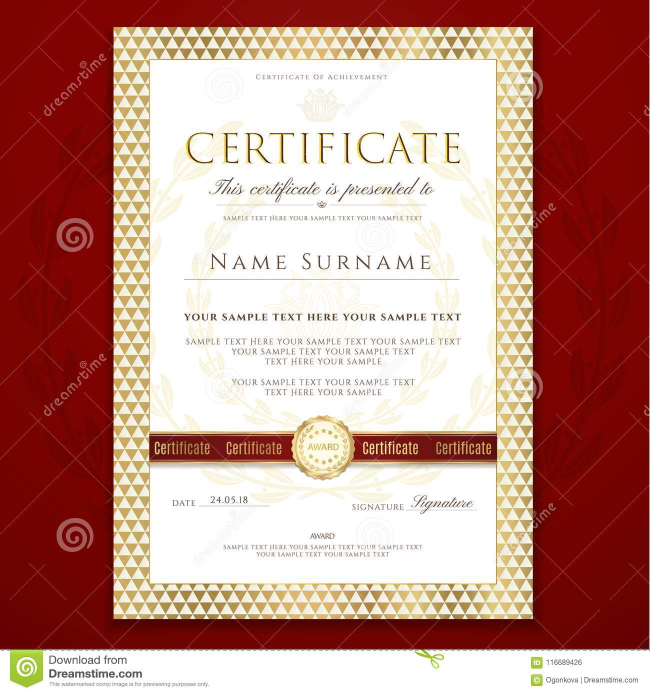 certificate template printable editable design for diploma
