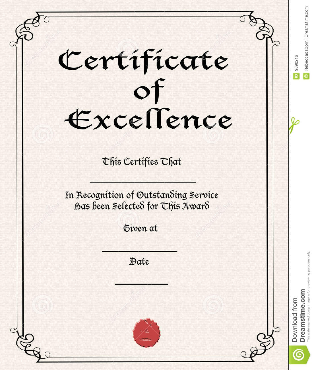 Doc550425 Certificate of Excellence Template Free Certificate – Certificate of Excellence Template Free