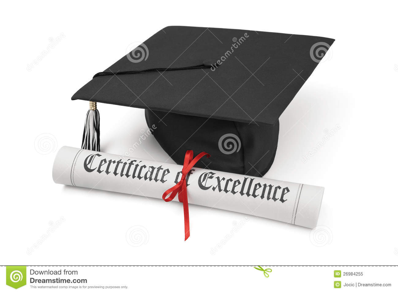 certificate of excellence and graduation cap stock image