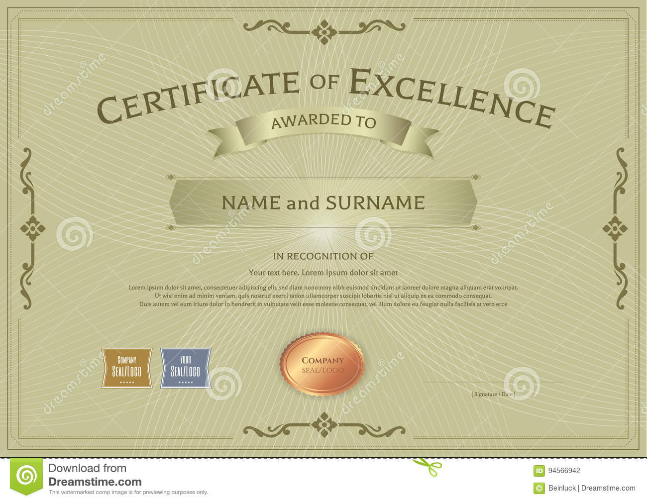 certificate of excellence template with award ribbon on abstract