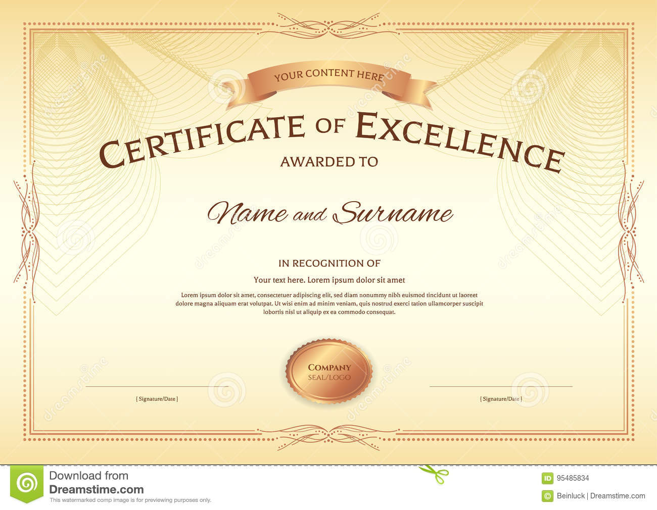 Certificate Of Excellence Template With Award Ribbon On