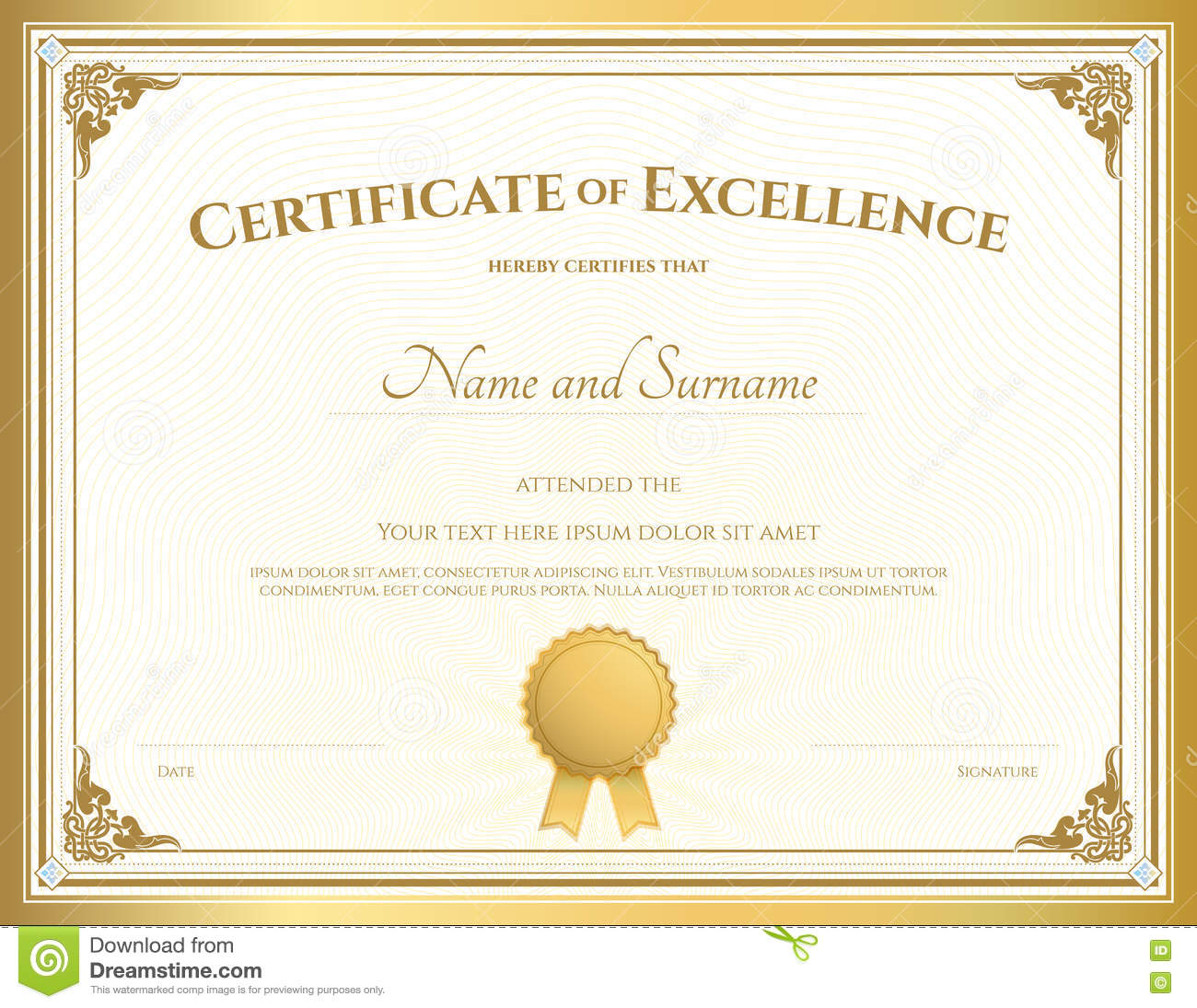 certificate of excellence template with gold border stock vector