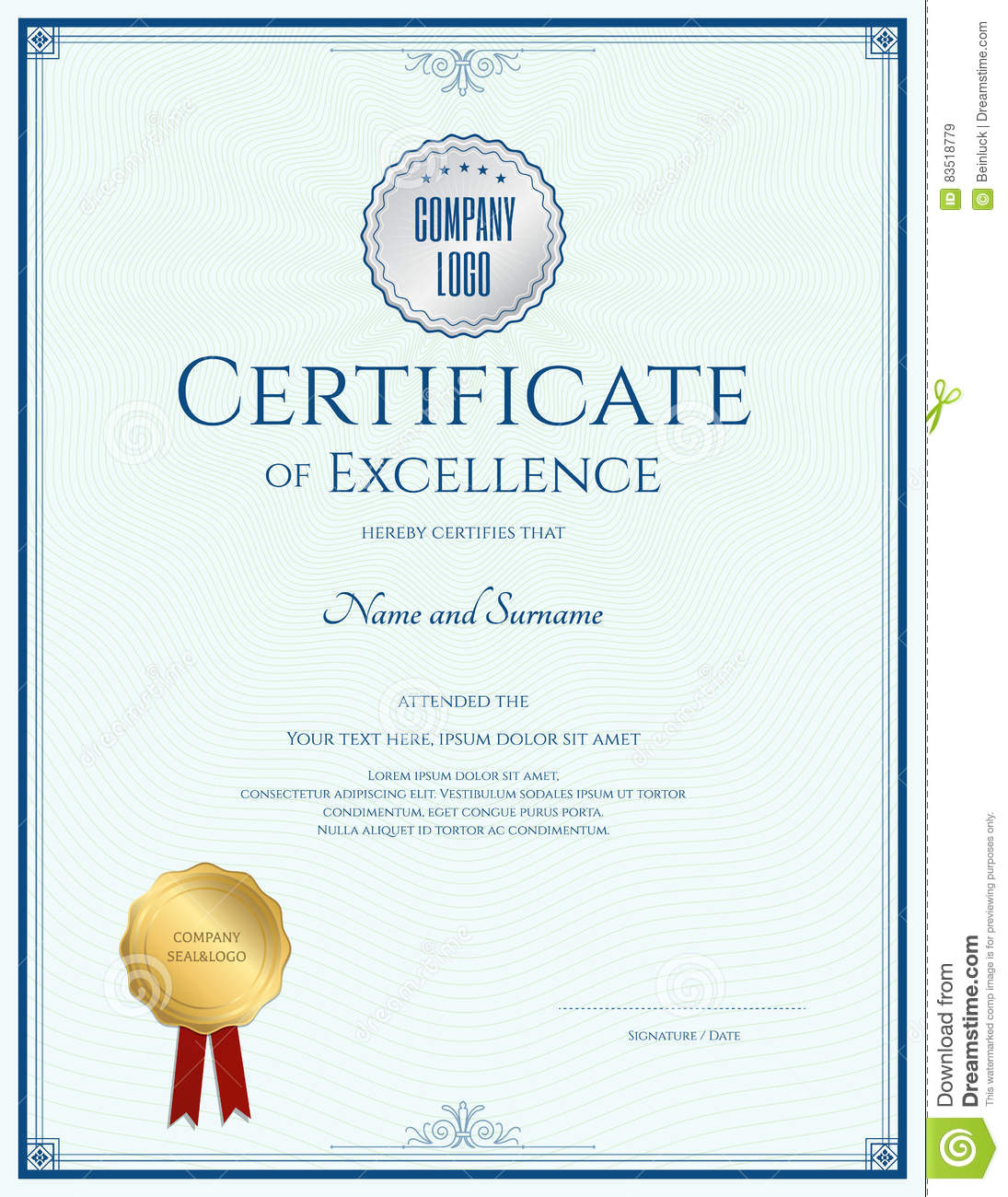 Certificate of excellence template with gold seal stock vector download comp yelopaper Choice Image