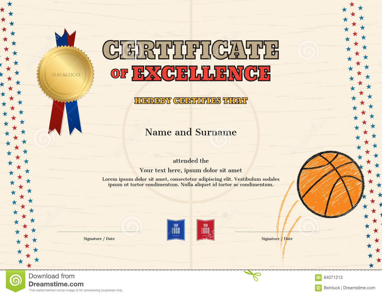 Certificate Of Excellence Template In Sport Theme For ...