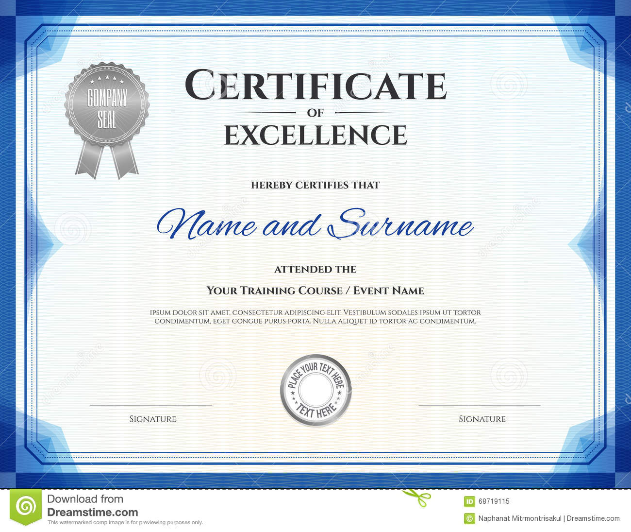 certificate of excellence in vector cartoon vector cartoondealercom 68719115