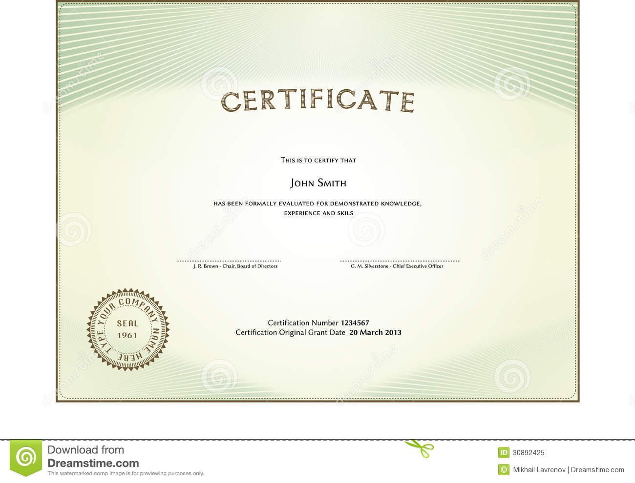 Certificate Form Royalty Free Stock Photo - Image: 30892425