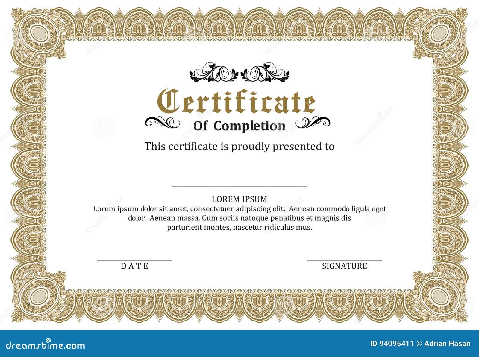 Certificate Frame Template Vector Award Stock Vector