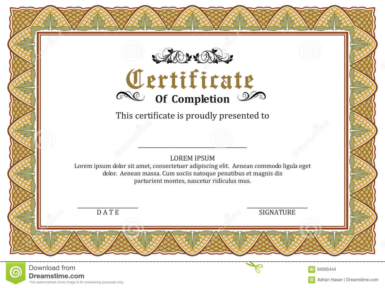 certificate frame template vector award stock vector illustration of border certificate 94095444 dreamstime com