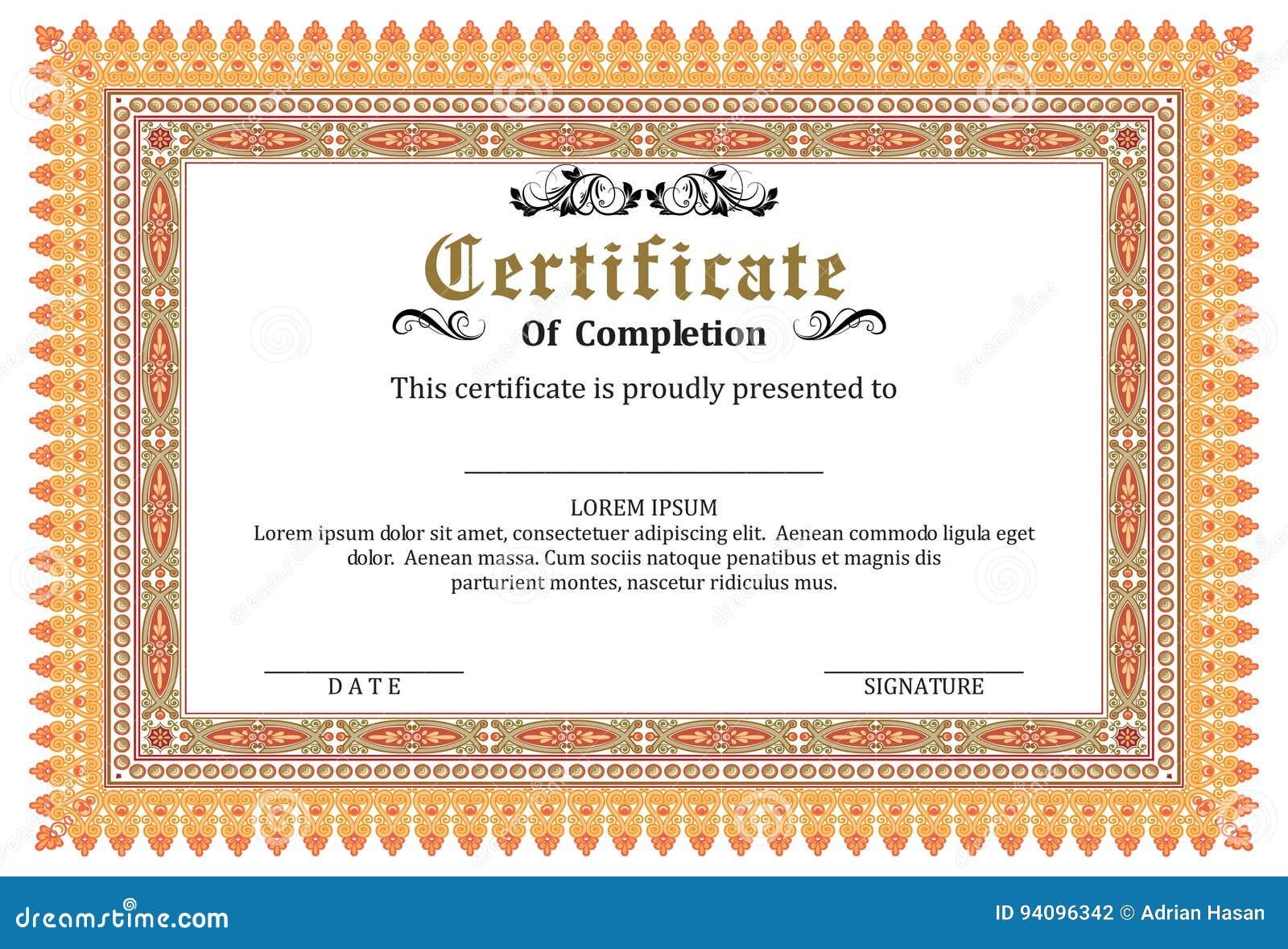 certificate frame template vector award stock vector illustration of fancy degree 94096342 dreamstime com