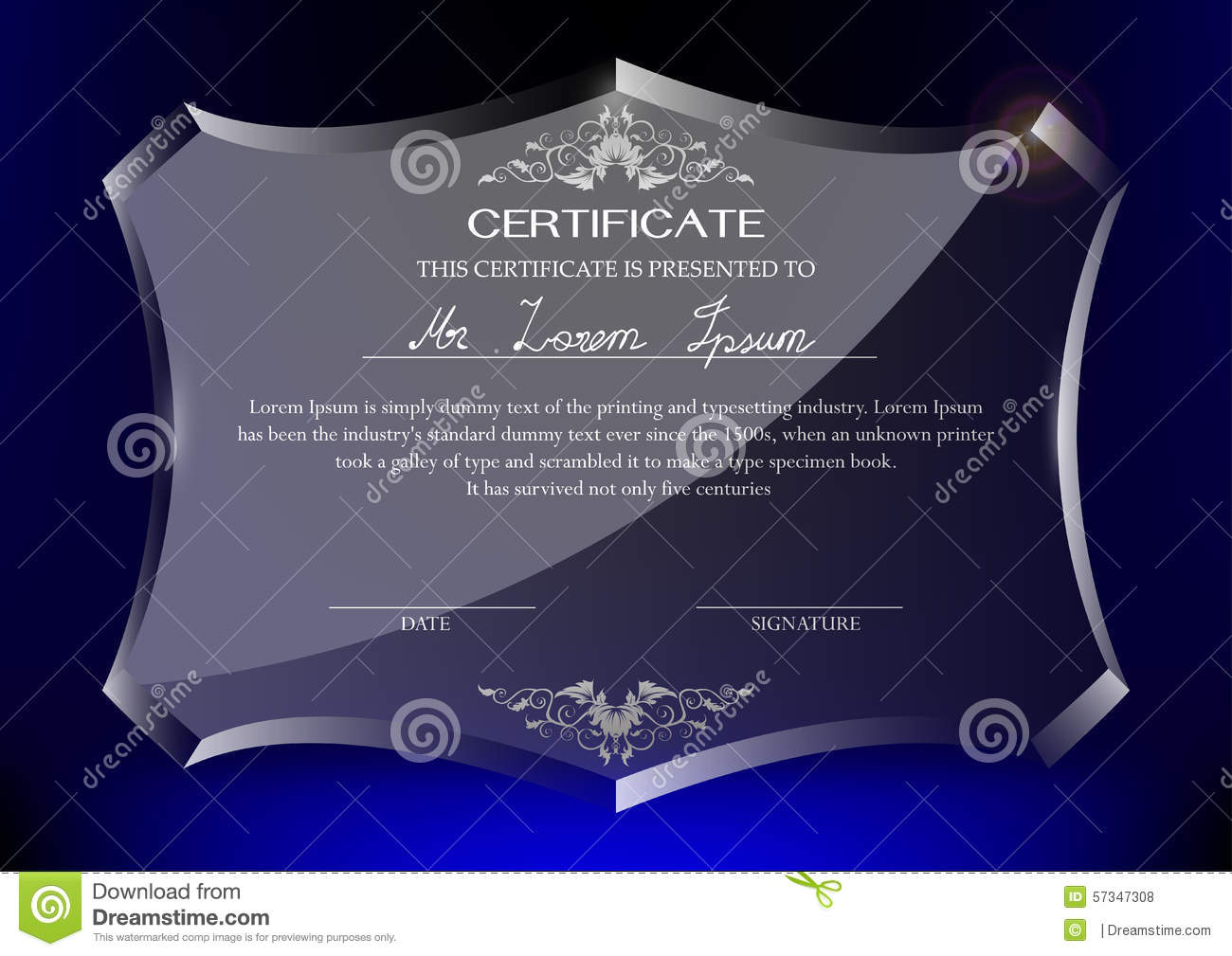 certificate on glass trophy on dark blue background stock