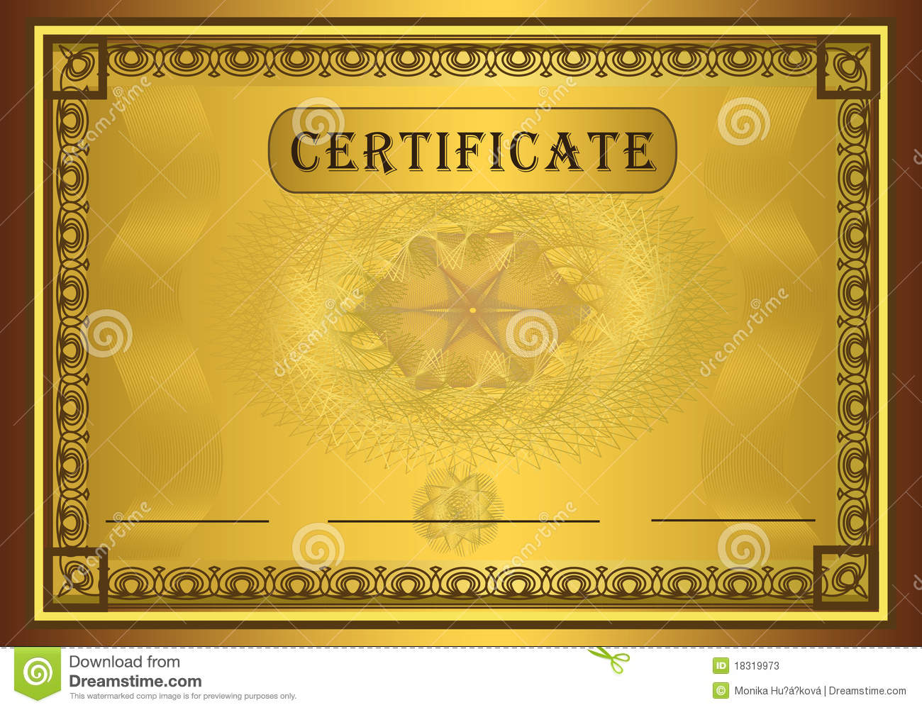 Certificate Gold Frame Stock Photos - Image: 18319973